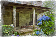 Old Cabins Framed Prints - Grandmas Porch Framed Print by Debra and Dave Vanderlaan