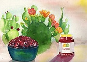 Jam Painting Originals - Grandmas Prickly Pear Jam by Sharon Mick