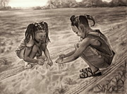Religious Drawings Drawings - Grandmas Sand by Curtis James