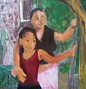 Honduras Painting Framed Prints - Grandmother and grand-daughter in  Honduras Framed Print by Ellen Seymour