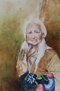 Native American Spirit Portrait Painting Prints - Grandmother Many Horses Print by Patsy Sharpe