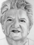 Charcoal Portrait Posters - Grandmother Rose Poster by Susan A Becker