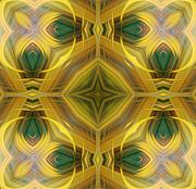 Yellows Digital Art Prints - Grandmothers Quilt Block Print by Linda Phelps
