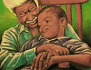 Artist Curtis James Pastels - Grandpa And Me by Curtis James