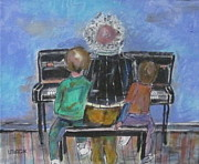 The Music Lesson Paintings - Grandpa and the Lesson by Michael Litvack