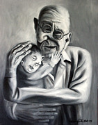 Black And White Prints Prints - Grandpa Print by Anthony Falbo