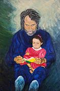 To My Father Prints - Grandpa reads a  Story Print by Nancy Rucker