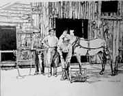 Horse Drawings Prints - Grandpas Blacksmith Shop Print by Linda Ginn