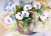Watercolor Paintings - Grandpas Daisies by Lynne Furrer