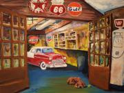 Garage Paintings - Grandpas Garage by Tim Loughner