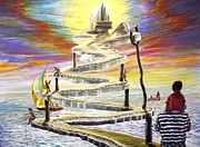 Stairway To Heaven Painting Prints - Grandpas Weird Stairway Print by Joe Santana