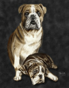 Pet Drawing Drawings Posters - Grandson of Sampson 2 Poster by Peter Piatt