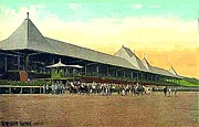 Grandstands Framed Prints - Grandstand And Horses At Saratoga 1910 Framed Print by Dwight Goss
