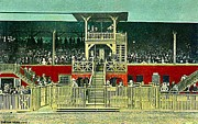 Grandstands Framed Prints - Grandstand At Saratoga Framed Print by Dwight Goss