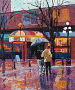 Rainy Street Painting Framed Prints - Grandville Couple Framed Print by Marion Rose