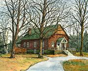 New Hampshire Artist Prints - Grange Hall No.44 Print by Elaine Farmer