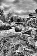 Great Falls Park Maryland Framed Prints - Granite in Black and White Framed Print by JC Findley