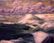 White Water Rafting Paintings - Granite Rapids Snake River Idaho by Tom Siebert