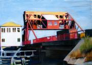 Canvas Drawings - Granite Street Drawbridge at Neponset River by Deb Putnam