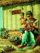 Pralhad Gurung Art - Granny and Grand Son by Pralhad Gurung