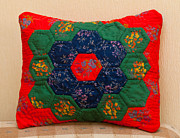 Pillow Tapestries - Textiles - Granny Garden Pillow by Veronika Denega