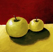 Black Painting Posters - Granny Smith Apples Poster by Michelle Calkins