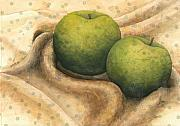 Food And Beverage Mixed Media Posters - Granny Smith Apples Poster by Sandy Clift
