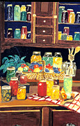 Canned Fruit Posters - Grannys Cupboard Poster by Julie Brugh Riffey