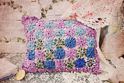 Handmade Quilt Framed Prints - Grannys Pillow Framed Print by Toni Hopper