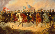 Us Presidents Painting Prints - Grant and His Generals Print by War Is Hell Store