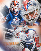Goalie Digital Art Framed Prints - Grant Fuhr Framed Print by Mike Oulton