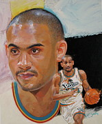 Basketball Abstract Painting Originals - Grant Hill by Cliff Spohn