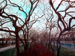Chicago Drawings Metal Prints - Grant Park Crabapples Metal Print by Jacob Stempky