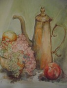 Teapot Painting Originals - Grape and Teapot by Joan Edge