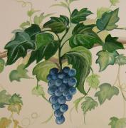 Syrah Painting Prints - Grape and Vine Print by Barbara Wilson