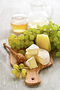 Cutting Board Posters - Grape, Honey And Cheese Poster by Verdina Anna