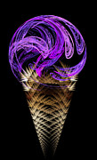 Dessert Digital Art - Grape Ice Cream Cone by Andee Photography