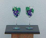 Grapes Glass Art - Grape Pattern Wine GLasses by Lois Niesen