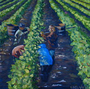 Grape Vineyard Originals - Grape Pickers by Christina Clare