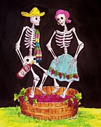Skeletons Drawings - Grape Stomping by Candy Mayer