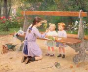 Benches Paintings - Grape tasting  by Victor Gabriel Gilbert