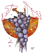 Nature Paint Posters - grapes 01 - Elena Yakubovich  Poster by Elena Yakubovich