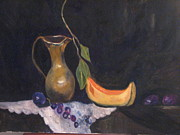 Cantaloupe Paintings - Grapes and Cantaloupe by Brenda Luczynski