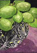 Scratchboard Paintings - Grapes and Crystal by Lynn Kibbe