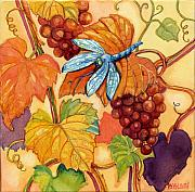 Purple Grapes Prints - Grapes and Dragonfly Print by Peggy Wilson