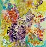 Grapes Prints - Grapes and Leaves I Print by Karen Fleschler