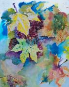 Grapes Paintings - Grapes and Leaves by Karen Fleschler
