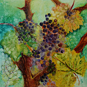 Wineries Paintings - Grapes and Leaves V by Karen Fleschler