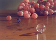 Photorealism Pastels Prints - Grapes and Marbles Print by Barbara Groff
