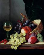 Fruit And Wine Metal Prints - Grapes and plums Metal Print by Edward Ladell